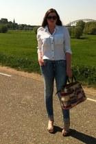 H&M jeans - bohemian H&M bag - vintage sunglasses - Ebay heels - H&M blouse