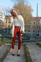 ruby red H&M Trend pants - ivory H&M sweater - ruby red French Connection bag
