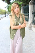 dark khaki OASAP vest - light pink Zara skirt - white killah flats