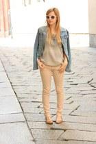 nude Zara pants - sky blue H&M jacket - camel Mango bag - camel Mango flats