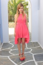 hot pink H&M earrings - bubble gum asos dress - hot pink Zara sandals