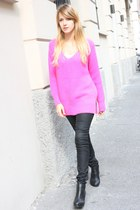 pink Zara sweater - black H&M boots - black H&M pants