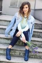 periwinkle Zara jacket - navy Zara pants