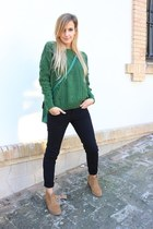 dark green OASAP sweater - camel Betty London boots - black Zara jeans