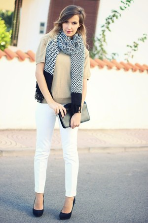 black Zara shoes - black OASAP bag - white Zara pants
