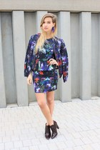 navy H&M dress - ruby red Zara shoes - navy H&M jacket