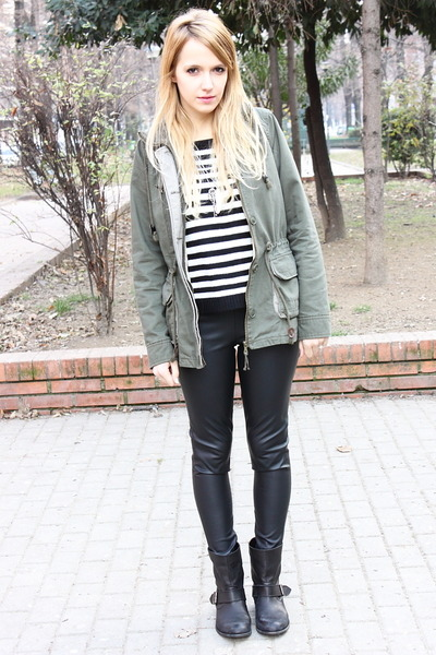 dark green Zara coat - black Zara boots - off white Zara jumper