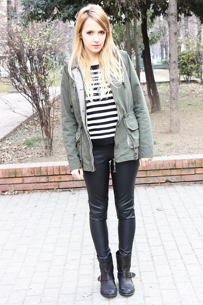 dark green Zara coat - black Zara boots - off white Zara jumper