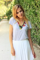 bubble gum Zara necklace - white French Connection shoes - white Zara skirt