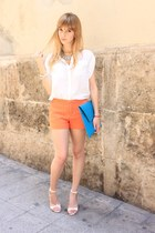 turquoise blue asos bag - white Zara shirt - carrot orange Zara shorts