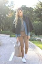 white Converse sneakers - navy Polo Ralph Lauren jacket - periwinkle Zara shirt
