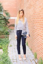 white Zara shirt - blue Zara bag - navy Zara pants