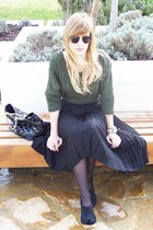 dark green Zara sweater - black asos sunglasses - black Zara skirt - black Mango