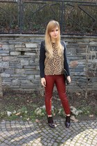 crimson Zara boots - crimson H&M Trend pants - dark brown Zara top