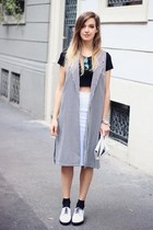 white Zara skirt - silver nixon watch