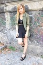Olive-green-h-m-shirt-silver-sfera-necklace-black-zara-skirt