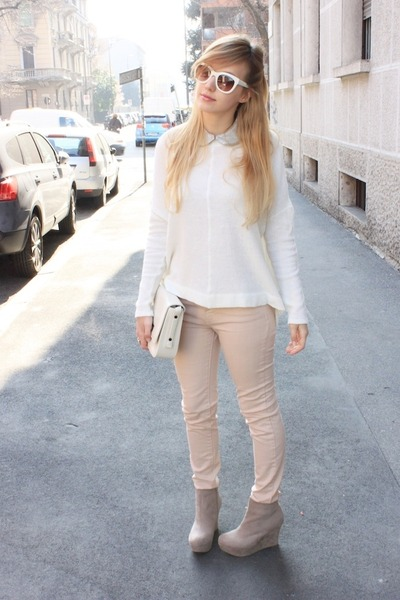 cream Zara sweater - white Zara bag - light pink Zara pants