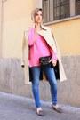 Sky-blue-zara-jeans-camel-la-redoute-coat-bubble-gum-zara-sweater
