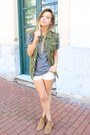 Camel-betty-london-shoes-white-bershka-shorts-olive-green-oasap-vest