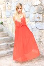 Red-oasap-dress-black-mango-sandals-bronze-h-m-necklace