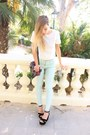 White-zara-t-shirt-aquamarine-zara-pants