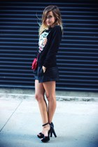 black Zara shorts - red pieces bag - black OASAP sweatshirt - black Zara sandals