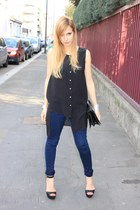 black H&M blouse - navy French Connection jeans - black Zara bag