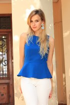 blue Zara blouse - black Zara heels - white Zara pants