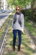 navy pull&bear scarf - brick red Zara boots - navy French Connection jeans