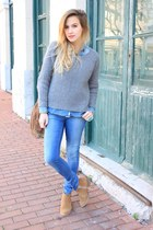 camel Mango bag - heather gray Zara sweater - light blue Zara shirt