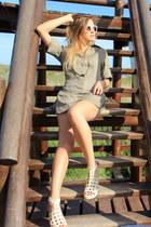 dark khaki Zara blouse