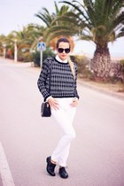 black vagabond shoes - white Mango jeans - black PERSUNMALL sweater
