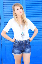 turquoise blue H&M necklace - navy Zara shorts - white Zara t-shirt