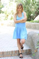 black Mango sandals - sky blue asos dress - white H&M bracelet
