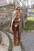 brown Mango shirt - dark brown Hispanitas boots - light brown Zara coat
