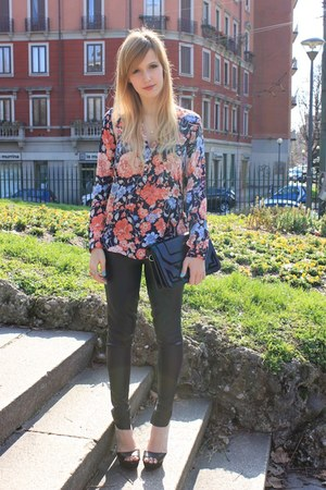 hot pink Zara blouse - black Zara bag - black Zara sandals - black Zara pants