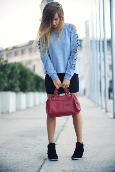heather gray OASAP sweatshirt - black Zara skirt - silver asos ring