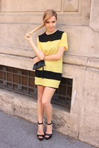 yellow OASAP dress - black BLANCO bag - black Zara sandals