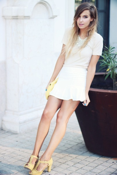 off white American Apparel top - white OASAP skirt - yellow Clarks sandals