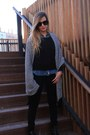 Black-zara-jeans-blue-zara-shirt-black-h-m-scarf