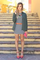black Zara top - army green Zara shirt - bubble gum Zara bag - black OASAP skirt