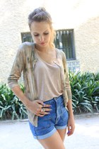 sky blue H&M shorts - aquamarine Zara sweater - peach Zara top