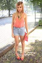 yellow Zara necklace - hot pink Zara bag - periwinkle Levis shorts