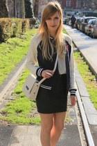 ivory Zara bag - navy Primark jacket - ivory Zara flats - black H&M skirt