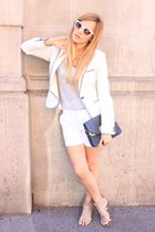 white Zara blazer - navy Zara bag - white Zara shorts - white Zara sunglasses