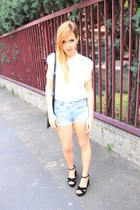 black Zara bag - white diy Zara shirt - light blue Levis shorts