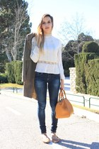 off white Zara blouse - brown Zara coat - camel purificación garcía bag