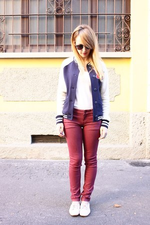 navy Primark jacket - crimson pull&amp;bear pants - white Zara flats