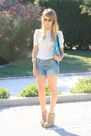 cream Mango shirt - turquoise blue asos bag - sky blue Levis shorts - peach asos