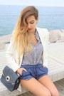 White-zara-shirt-eggshell-mango-blazer-navy-zara-bag-navy-zara-shorts